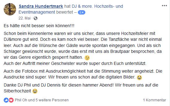 facebook bewertung DJ Hannover
