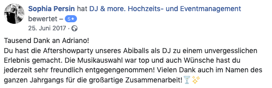 DJ Adriano Macera für Hochzeit Event Bewertung 03