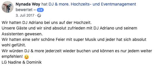 DJ Adriano Macera für Hochzeit Event Bewertung 04